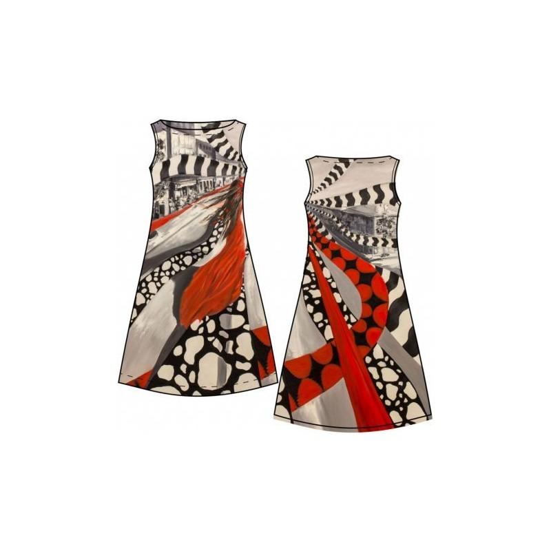 Panneau Jersey Femme fatale à la robe rouge - 150 x 150 cm