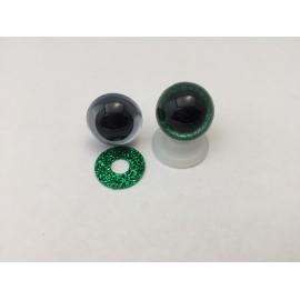 Œil Sécurité 18 mm Vert pailleté