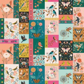 Tissu Coton Dashwood Collection Aviary - Patch La volière - par 10 cm