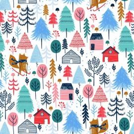 Tissu Coton Dashwood Collection Snow Much Fun - Les Animaux au Ski - par 10 cm