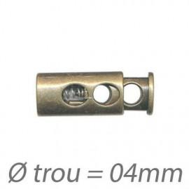 Carte de 2 Embouts Arrêt Cordon 2 Trous de 4mm - Bronze