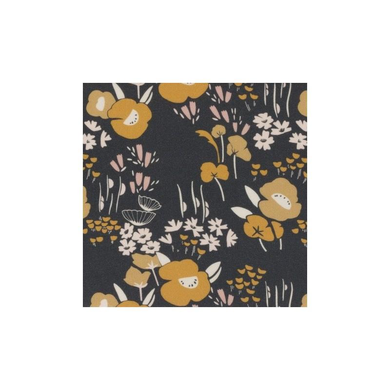 Tissu rayonne Dashwood - Collection Dovestone - Fleurs moutarde