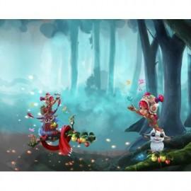 Panneau Jersey La petite fille et ses amis de la forêt - 120 x 150 cm
