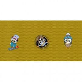 Panneau French Terry Raton laveur et oiseaux au sport d'hiver - 75 x 150 cm