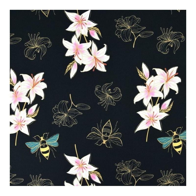Tissu ALB sweat été glow lily Noir imprimé 165cm - par 50 cm